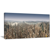 "Designart PT6902-271 4 Panel ""NYC 360 Degree Panorama Cityscape Photography"" Canvas Print, Green, 120cm x 70cm"