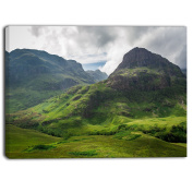 "Designart PT6938-100cm - 80cm Summer in Scotland Landscape Photo"" Canvas Print, Green, 100cm x 80cm"