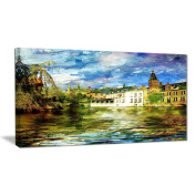 "Designart PT6894-100cm - 50cm Old Belgium Channel Landscape Photo"" Canvas Print, Green, 100cm x 50cm"