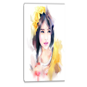 Designart PT6675-16-32 Portrait of Beautiful Girl Contemporary Artwork, Yellow, 41cm x 80cm