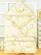 Beige Minies Baby Wrap, Swaddle, Blanket, High Quality Soft Organic Cotton, Best Baby Shower Gift for Boys, Girls, Unisex, Size 90cm x 90cm , 0-8 Months.