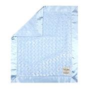 My Blankee Luxe Snail Back Satin Flat Satin Border Blanket, Blue, 70cm x 90cm