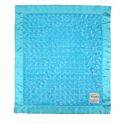 My Blankee Luxe Snail Back Satin Flat Satin Border Blanket, Turquoise, 70cm x 90cm