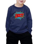 Toddler Little Boy UNO Superhero First Birthday, One Year Old Long Sleeve T-shirt