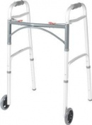 DSS Drive Medical Deluxe Junior Folding Walker 60cm W x 43cm - 1.3cm D x 80cm H, Two Button with 13cm Wheels, 160kg Weight Capacity by DSS
