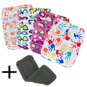 Daisy Ananbaby 4 X Baby Reuseable Washable Adjustable Pocket Cloth Nappies Set Comes with ONE Free 4-Layeres Bamboo Charcoal Inserts