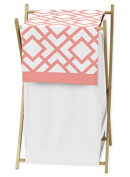 Baby/Kids Clothes Laundry Hamper for Modern White and Coral Diamond Geometric Girls Bedding