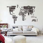 Huge Countires World MapTravel Map for Home Office Decoration Wall Decal Wall Sticker