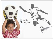 """""""We are the champions"""" Man Shooting the Football Wall Decal Wall Sticker for Boys and Men Room Decoration"""