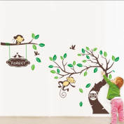 XXXL 305*145cm Forest the Paradise of the Naughty Monkeys Nusery Room Jungle Tree Vinyl Wall Decal Wall Sticker for Babys and Children