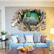3D Style Broken Wall Elephant Wall Decal Home Sticker PVC Murals Vinyl Paper House Decoration Wallpaper Living Room Bedroom Kitchen Art Picture DIY for Children Teen Senior Adult Nursery Baby