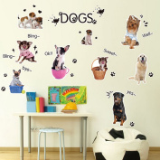 Dogs Family Chat English Letters Greetings Wall Decal Home Sticker PVC Murals Vinyl Paper House Decoration Wallpaper Living Room Bedroom Kitchen Art Picture DIY for Children Teen Senior Adult Nursery Baby
