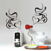 Coffees Cups Mugs Heart Shapes Wall Decal Home Sticker PVC Murals Vinyl Paper House Decoration Wallpaper Living Room Bedroom Kitchen Art Picture DIY for Children Teen Senior Adult Nursery Baby