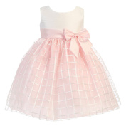 Lito Baby Girls Pink Poly Silk Embroidered Organza Easter Dress 6-24M