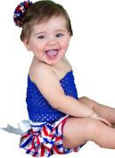 4th July Dress Blue Tube Top RWB Stripe Baby Skirt Outfit Set 3-12m