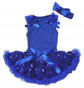 Plain Dress Royal Blue Top Sequin Baby Skirt Outfit Set 3-12m