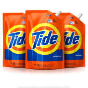 Tide Smart Pouch Original Scent HE Turbo Clean Liquid Laundry Detergent, Pack of three 1420ml pouches, 93 loads