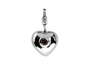 SilveRado Sterling Silver Heart Simulated Pink Tourmaline Click on Bead