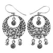 Artisinal Granulation 925 Sterling Silver French Wires Drop Earrings