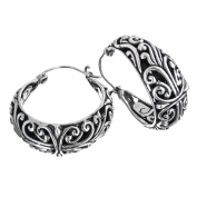 Balinese Traditional Scrollwork 925 Sterling Silver Huggy Post Earrings