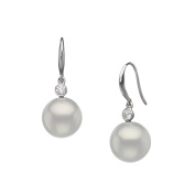 14KWG Shepherd Hook Earrings with Dia.-0.10ctw., and White South Sea Cultured Pearls 9-10mm