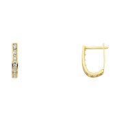 14k Yellow Gold 2mm Thickness CZ Channel Set Huggie Earrings