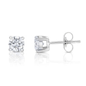 14k White Gold Round Solitaire Diamond Stud Earrings