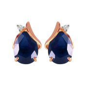 14k Solid Rose Gold Stud Earrings with Natural Diamonds and Pear-shaped Sapphires