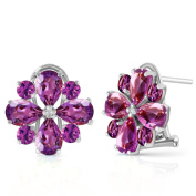 4.85 CTW 14k Solid White Gold Amethyst French Clip Flower Earrings