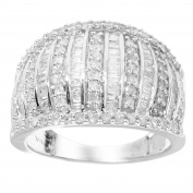 Sterling Silver 1.00ct. TDW Round & Baguette Diamond Band Ring