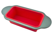 Gourmet Non-Stick Silicone Bread Loaf Pan by Boxiki Kitchen | Best No-Stick Bread Mould for Baking Bread, Meatloaf, Pound Cake | 34cm x 15cm x 7cm , FDA-Approved Silicone w/ Steel Frame + Handles