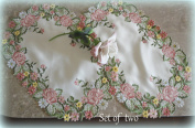 Embroidered Pink Rose Place Mats ( Set of 2, 43cm x 28cm ) Doilies
