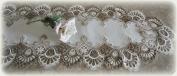 160cm Lace Dresser Scarf Mantel Shelf Runner Cocoa Brown Neutrals & White Doily
