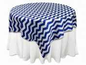Tablecloth Chevron Square Overlay 150cm Royal Blue By Broward Linens