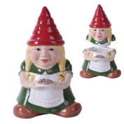 25cm Gnome Sweet Lady Gnome Cookie Eating Ceramic Jar Figurine