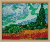 Diy oil painting, paint by number kit- worldwide famous oil painting A Wheatfield, with Cypresses by Van Gogh 16*50cm .