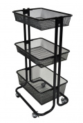 Mobile 3 Tiered Baby/Toy Nursery Storage Cart - Black