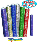 Toysmith 22cm Metallic Mylar Marble Kaleidoscopes Red, Blue, Green, Gold, Silver & Purple Complete Party Set Bundle - 6 Pack