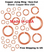 18 Ga Copper Open Jump Ring 10 Assorted Sizes 3.5 MM O/D ~ 10 MM O/D /100 of Each