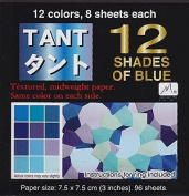 Japanese Tant Origami Paper- 12 Shades of Blue 7.6cm Square