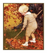 Boy Raking Leaves By Jessie Willcox Smith Counted Cross Stitch Pattern