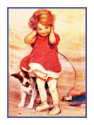 Girl Dog Blustery Wind By Jessie Willcox Smith Counted Cross Stitch Pattern
