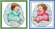 Happy Forever Cross Stitch,Figure,The sleeping angel boy and girl, 2 for a set