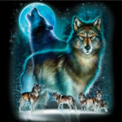 WUKE 36cm X 36cm Inch DIY Handmade Diamond Painting Wolf Resin Rhinestone Pasted Cross Stitch for Home Decoration