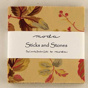 Sticks and Stones Moda Charm Pack By Laundry Basket Quilts; 110cm - 13cm Precut Fabric Quilt Squares