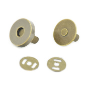 "20 Sets 18mm 3/4"" Round Magnetic Snaps Bag Button Clasps Closure Purse Handbag with Washer Bronz"