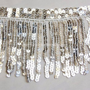 15cm Long SEQUINS FRINGES Many different colours for your choice Silver Selling Per Yard