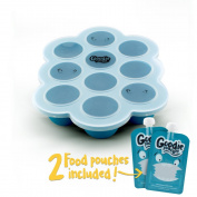 Silicone Freezer Tray for Baby Food Storage - With Bonus 2 Reusable Pouches - BPA Free High Quality Freezer Cube Container with Lid for Homemade Puree, Ice, Breastmilk & Baking. 45ml Portions