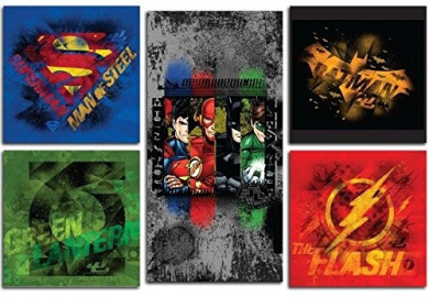 Modern Littles Justice League 5 Piece Wall Art Set, Multicoloured