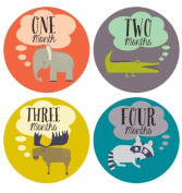 Lucy Darling Monthly Baby Stickers - Gender Neutral - Retro Animals - Months 1-12
